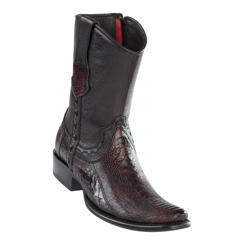 Men's Dubai Short Boot Genuine Ostrich Leg - Black Cherry - H79B