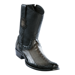 Men's Dubai Short Boot Genuine Ostrich Leg - Faded Gray - H79B