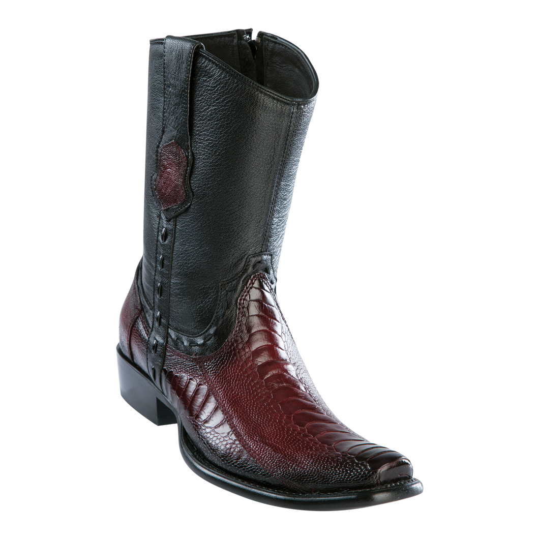 Men's Dubai Short Boot Genuine Ostrich Leg - Faded Burgundy - H79B