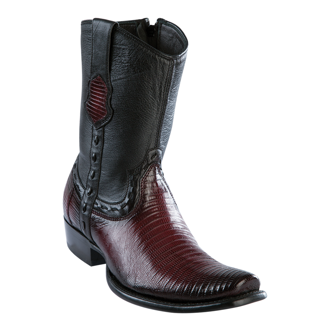 Men's Dubai Short Boot Genuine Teju - Faded Burgundy - H79B