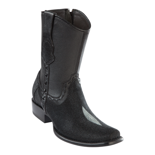 Men's Dubai Short Boot Genuine Stingray Single Stone - Black - H79B