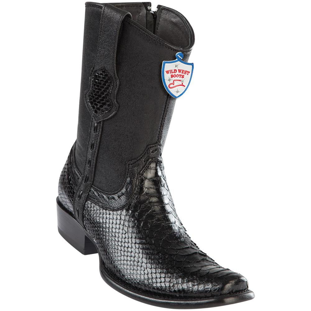 Men's Wild West Genuine Python Boots Dubai Toe Black