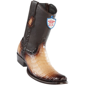 Men's Wild West Genuine Caiman Belly Boots Dubai Toe Faded Oryx