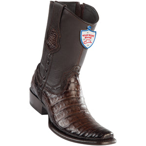 Men's Wild West Genuine Caiman Belly Boots Dubai Toe Faded Brown