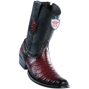 Men's Wild West Genuine Caiman Belly Boots Dubai Toe Faded Burgundy