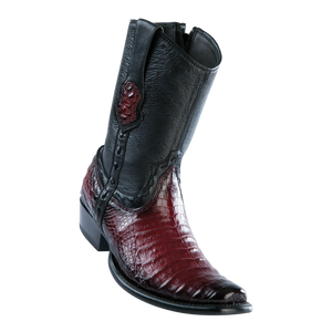 Men's Dubai Short Boot Genuine Caiman Belly - Faded Burgundy - H79B