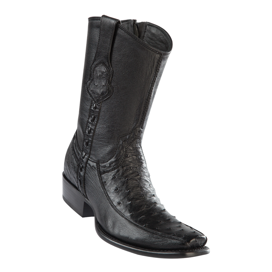 Men's Dubai Short Boot Genuine Ostrich with Deer - Black - H79BF