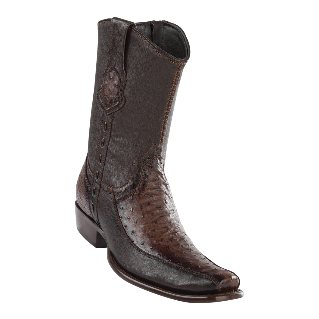 Men's Dubai Short Boot Genuine Ostrich with Deer - Faded Brown - H79BF
