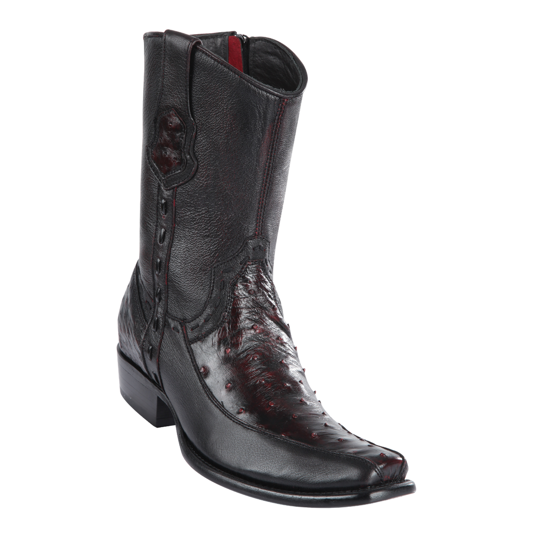Men's Dubai Short Boot Genuine Ostrich with Deer - Black Cherry - H79BF