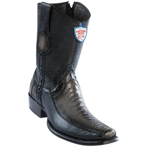 Men's Wild West Genuine Ostrich Leg/Deer Boots Dubai Toe Faded Gray