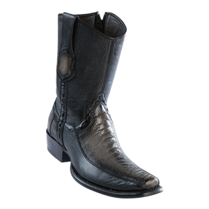 Men's Dubai Short Boot Genuine Ostrich Leg with Deer - Faded Gray - H79BF