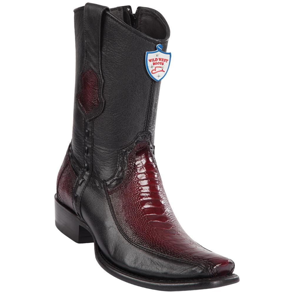 Men's Wild West Genuine Ostrich Leg/Deer Boots Dubai Toe Faded Burgundy