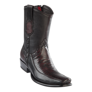 Men's Dubai Short Boot Genuine Teju with Deer - Black Cherry - H79BF