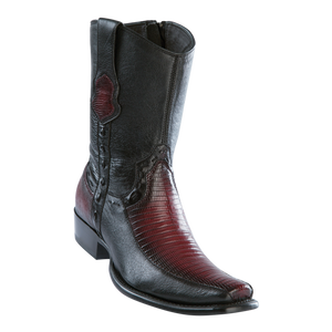 Men's Dubai Short Boot Genuine Teju with Deer - Faded Burgundy - H79BF
