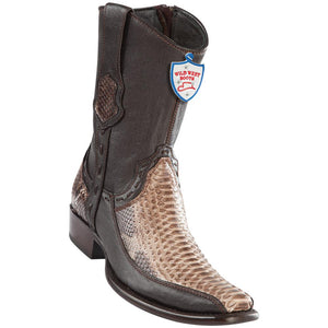 Men's Wild West Genuine Python/Deer Boots Dubai Toe Rustic Brown