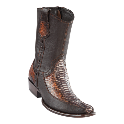 Men's Dubai Short Boot Genuine Python with Deer - Rustic Cognac - H79BF