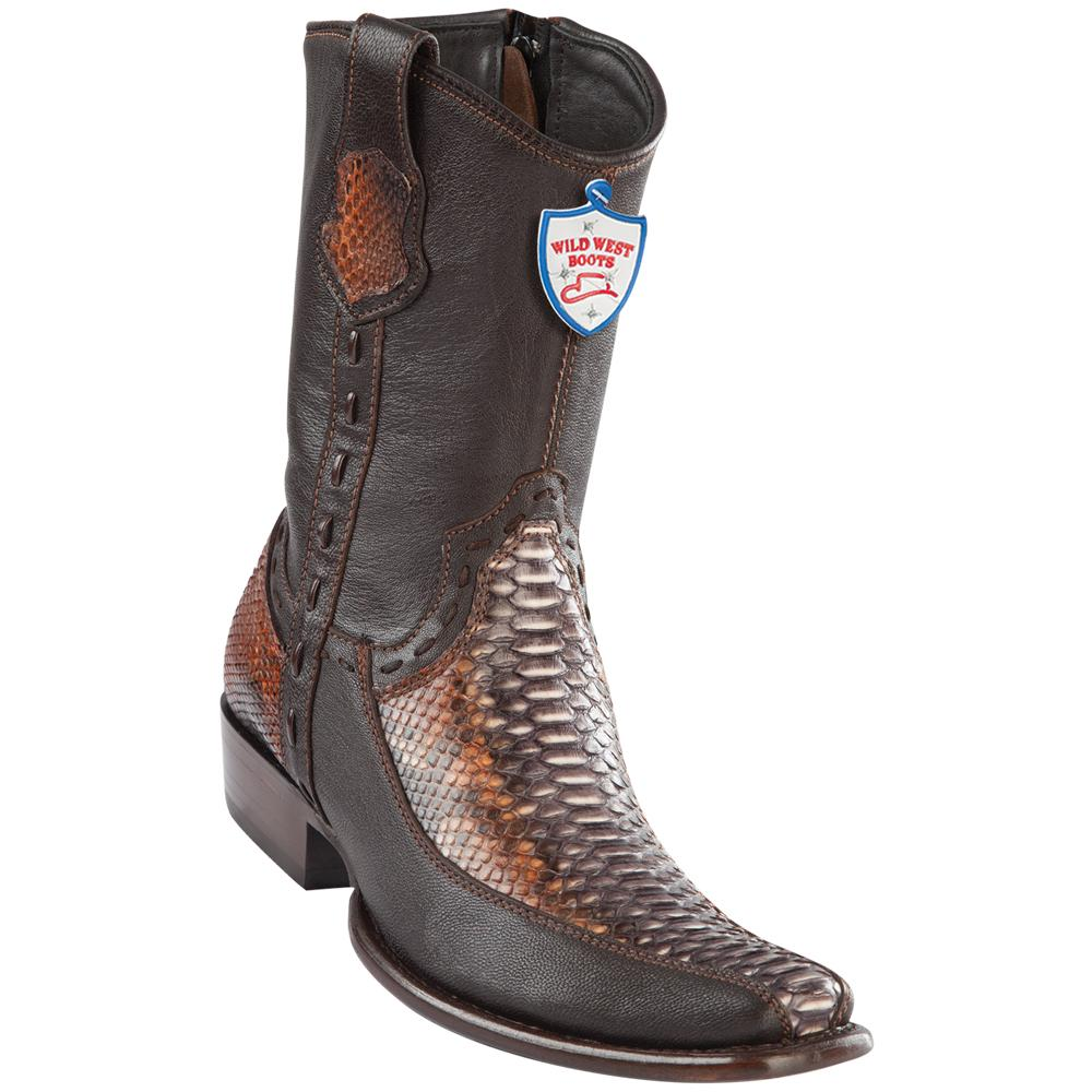 Men's Wild West Genuine Python/Deer Boots Dubai Toe Rustic Cognac