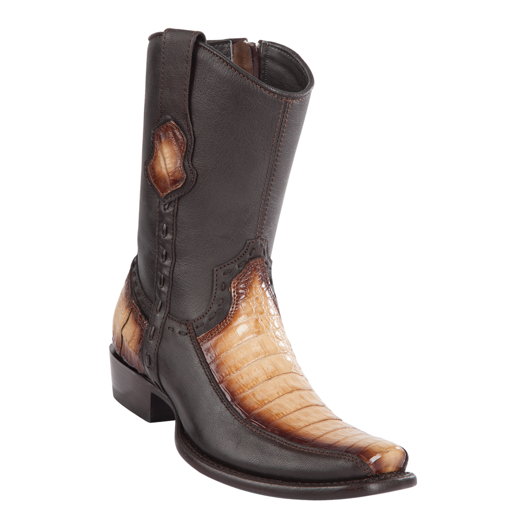 Men's Dubai Short Boot Genuine Caiman Belly with Deer - Faded Oryx - H79BF