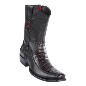 Men's Dubai Short Boot Genuine Caiman Belly with Deer - Black Cherry - H79BF