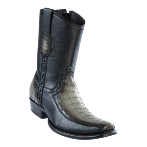 Men's Dubai Short Boot Genuine Caiman Belly with Deer - Faded Gray - H79BF