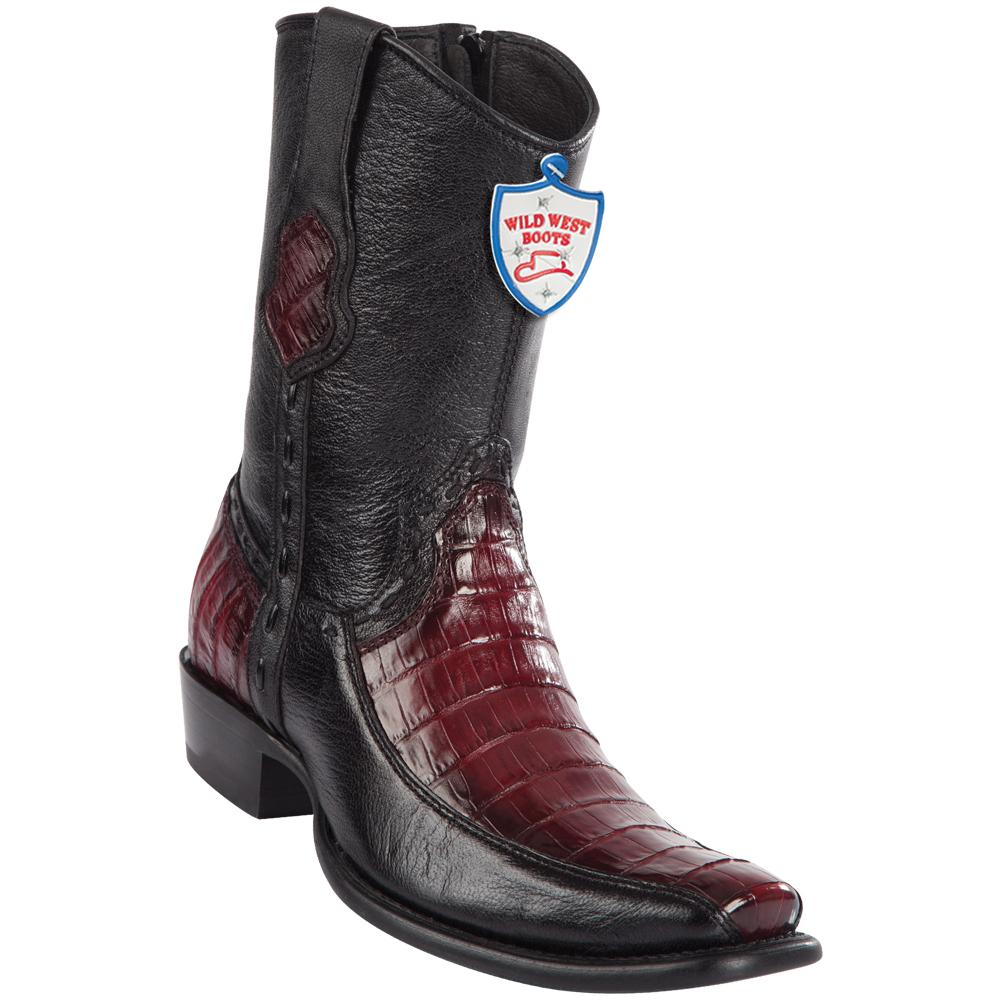 Men's Wild West Genuine Caiman Belly/Deer Boots Dubai Toe Faded Burgundy