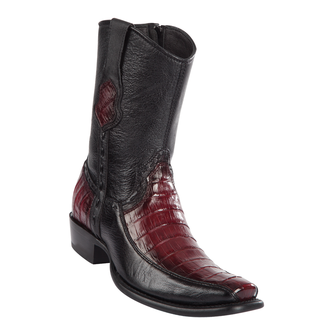 Men's Dubai Short Boot Genuine Caiman Belly with Deer - Faded Burgundy - H79BF