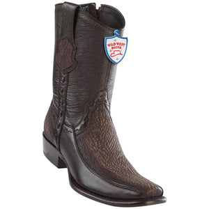 Men's Wild West Genuine Shark/Deer Boots Dubai Toe Faded Brown
