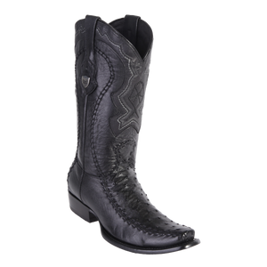Men's Dubai Boot Genuine Ostrich with Deer - Black - H79F