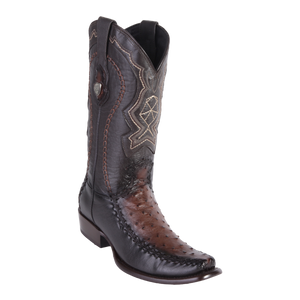 Men's Dubai Boot Genuine Ostrich with Deer - Faded Brown - H79F
