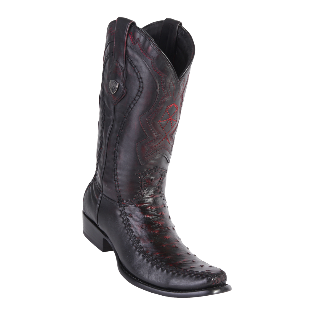 Men's Dubai Boot Genuine Ostrich with Deer - Black Cherry - H79F