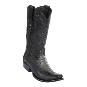 Men's Dubai Boot Genuine Ostrich with Deer - Faded Gray - H79F