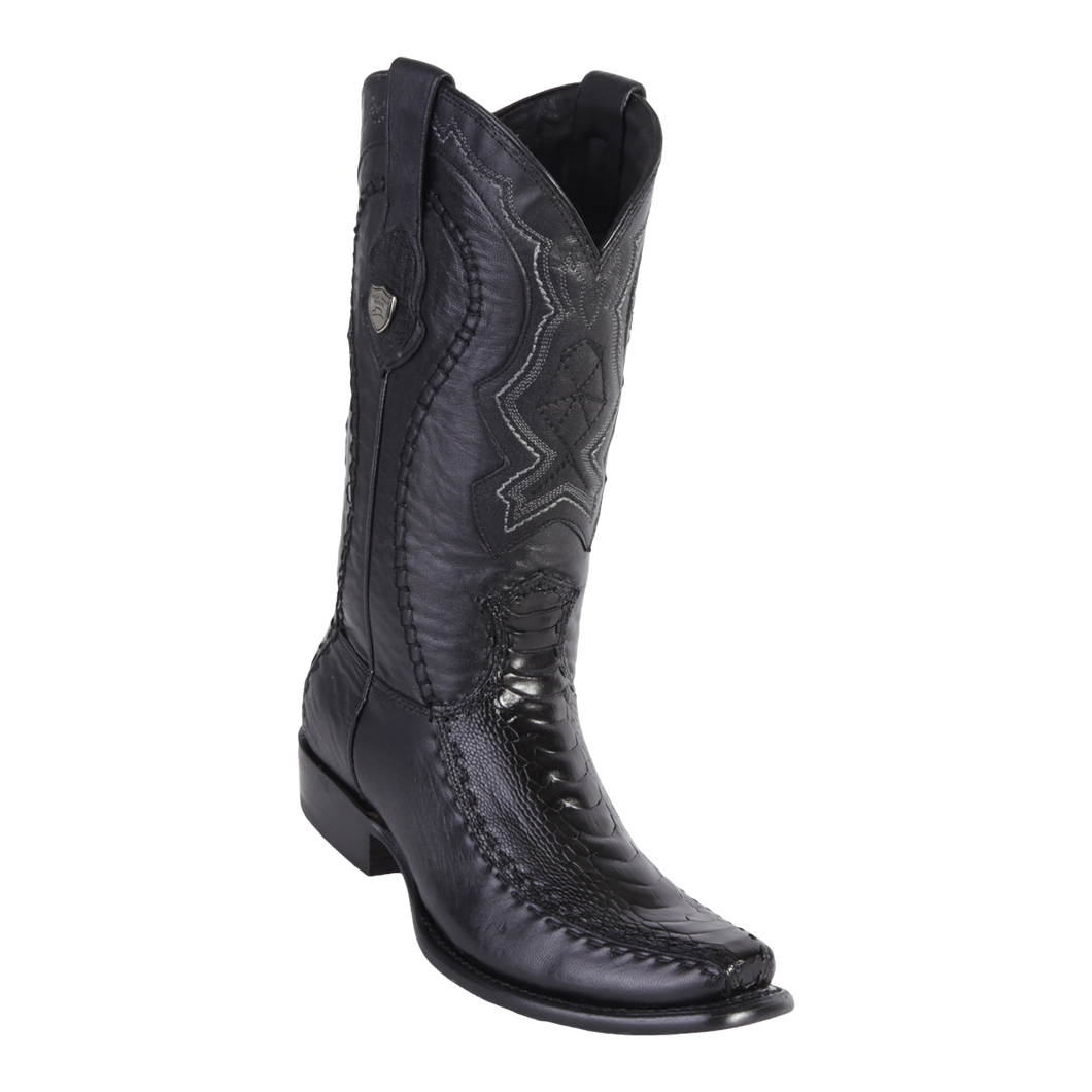 Men's Dubai Boot Genuine Ostrich Leg with Deer - Black - H79F