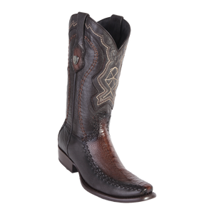 Men's Dubai Boot Genuine Ostrich Leg with Deer - Faded Brown - H79F