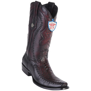 Men's Wild West Genuine Ostrich Leg/Deer Boots Dubai Toe Black Cherry