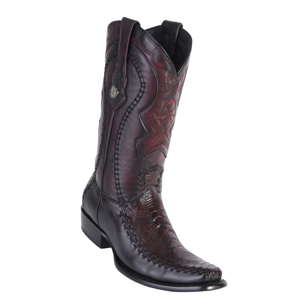 Men's Dubai Boot Genuine Ostrich Leg with Deer - Black Cherry - H79F