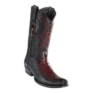 Men's Dubai Boot Genuine Ostrich Leg with Deer - Faded Burgundy- H79F