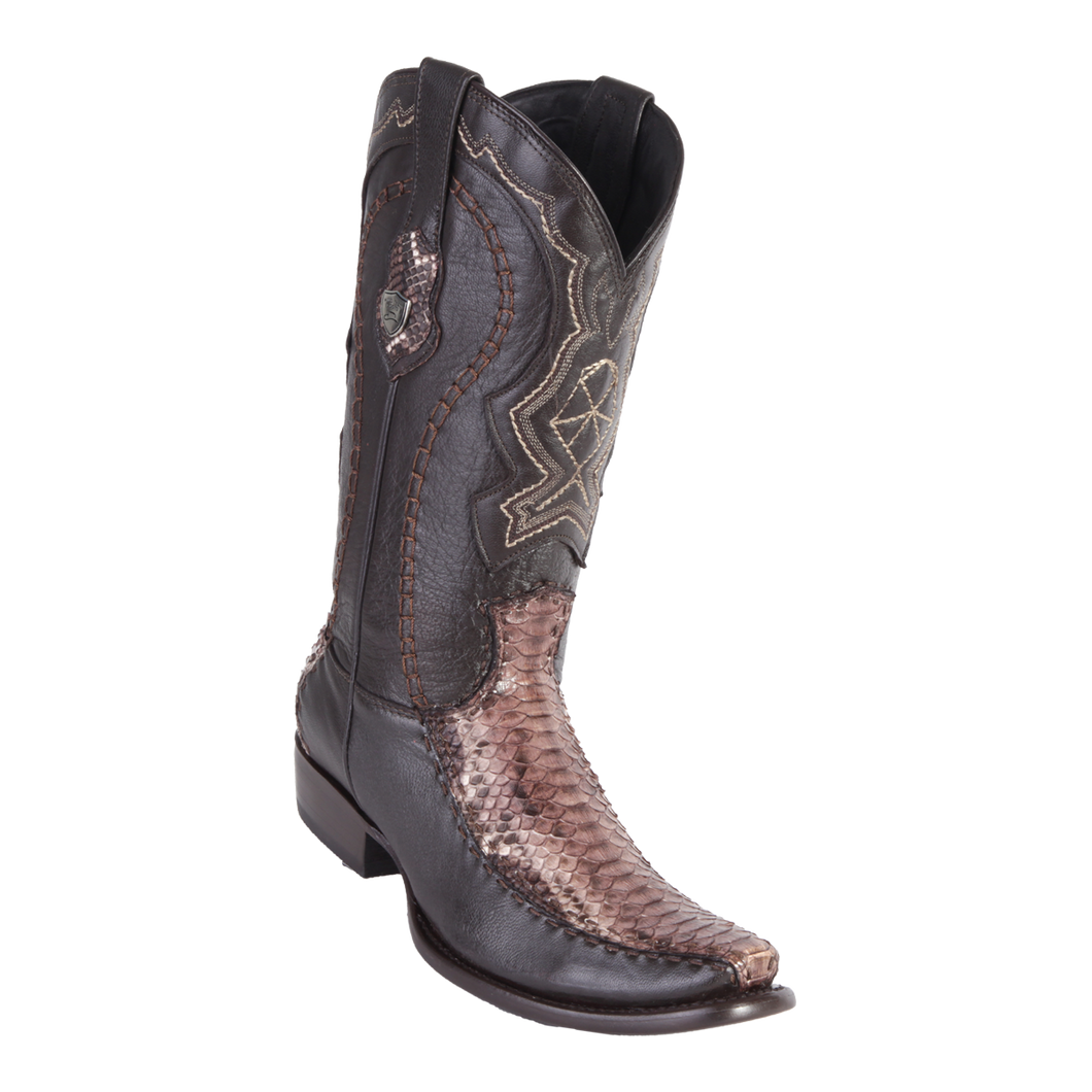 Men's Dubai Boot Genuine Python with Deer - Rustic Brown - H79F