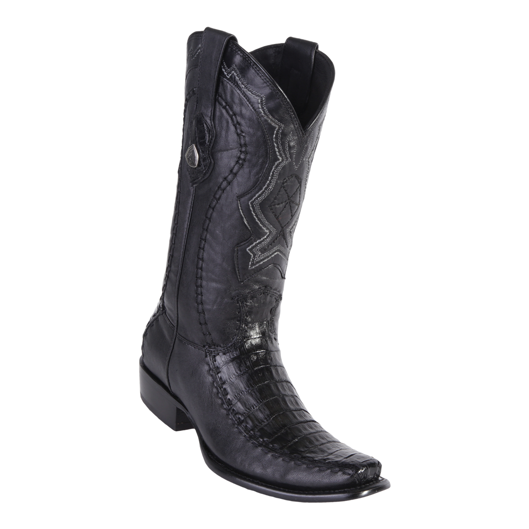 Men's Dubai Boot Genuine Caiman Belly with Deer - Black - H79F