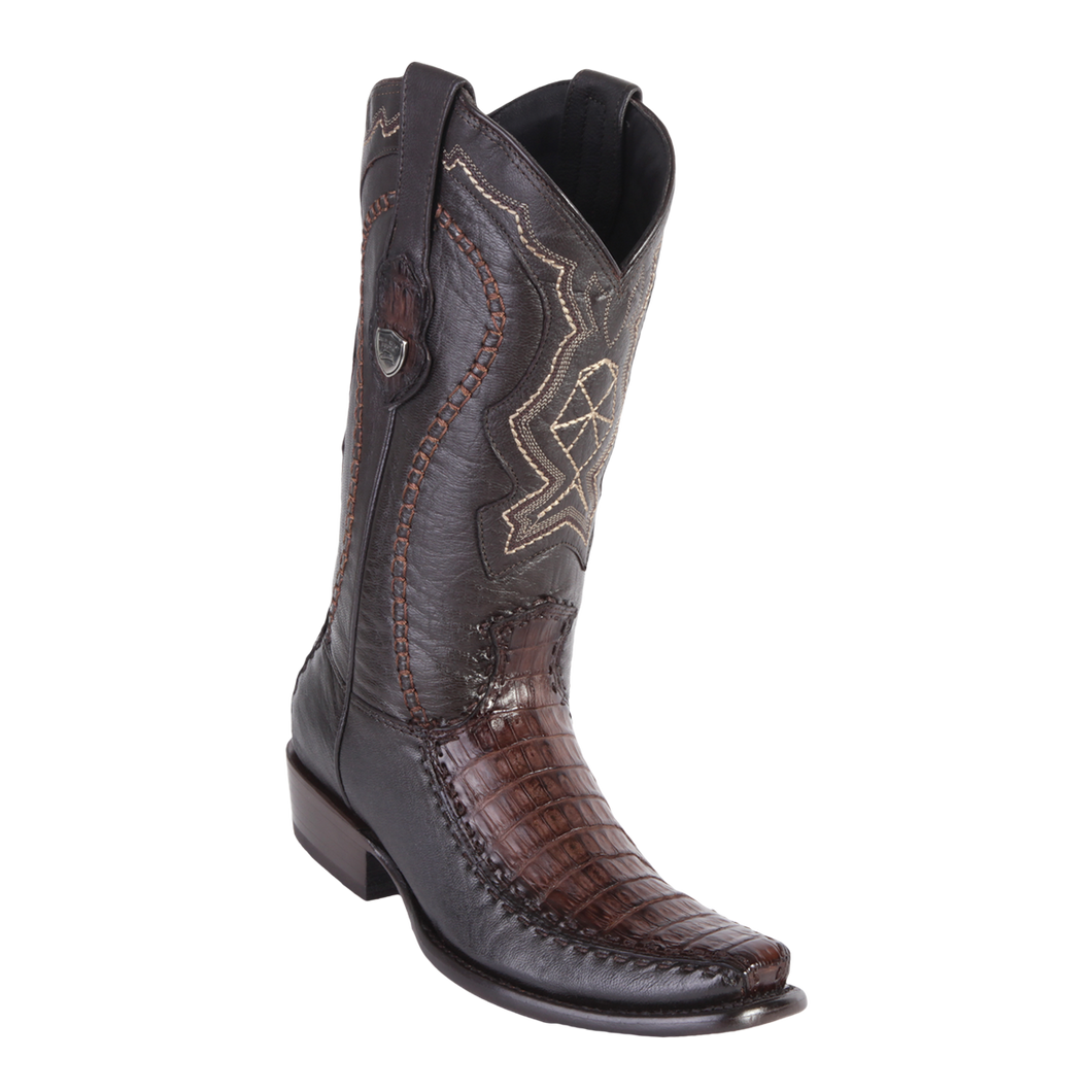 Men's Dubai Boot Genuine Caiman Belly with Deer - Faded Brown - H79F