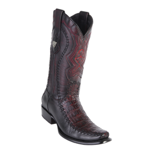 Men's Dubai Boot Genuine Caiman Belly with Deer - Black Cherry - H79F
