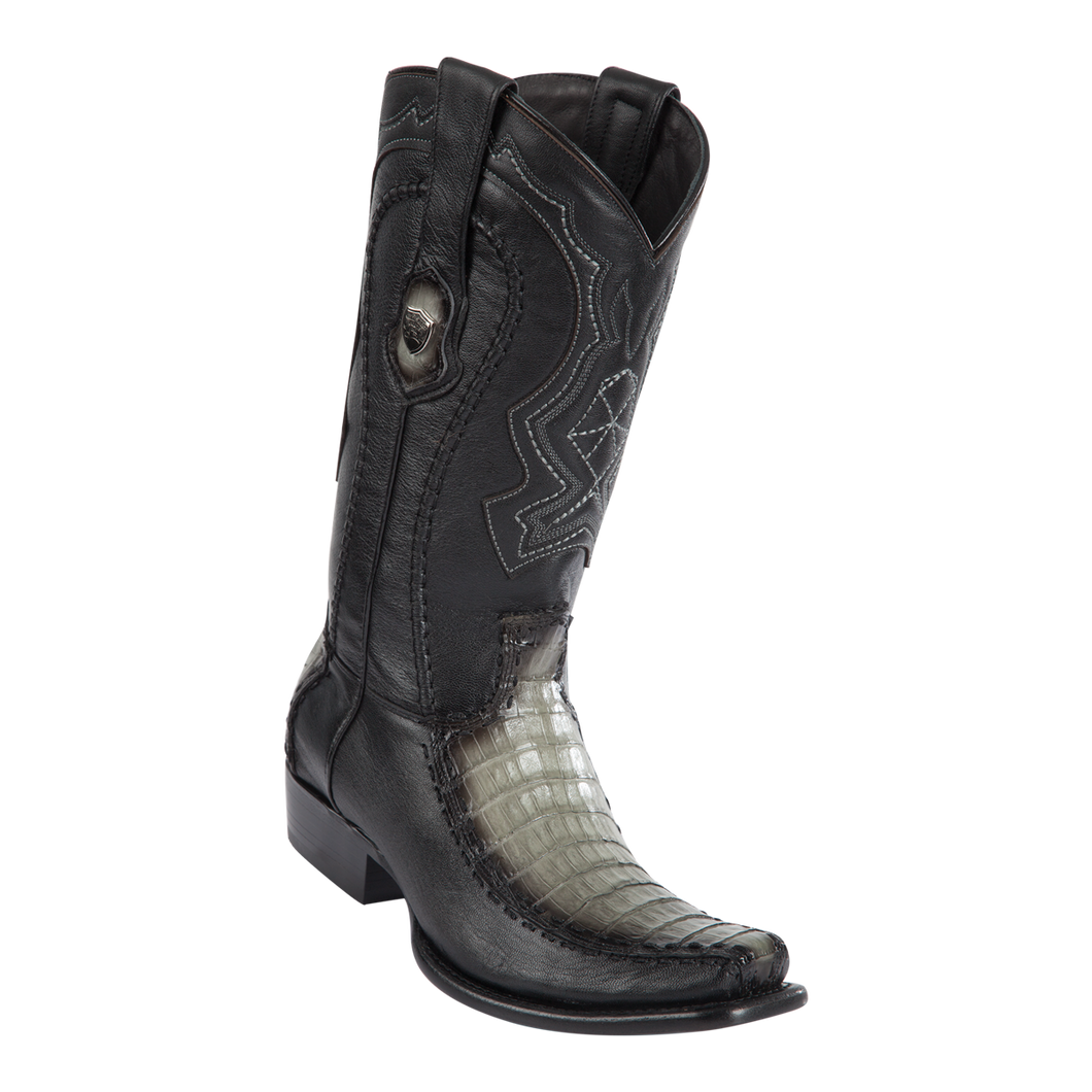 Men's Dubai Boot Genuine Caiman Belly with Deer - Faded Gray - H79F