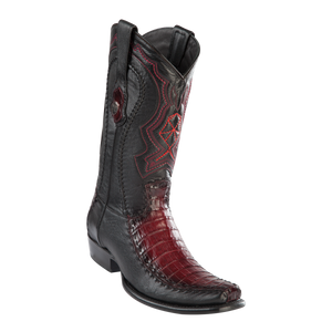 Men's Dubai Boot Genuine Caiman Belly with Deer - Faded Burgundy - H79F