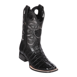 Men's Wild Ranch Toe Boot Genuine Caiman Tail - Black  - H82