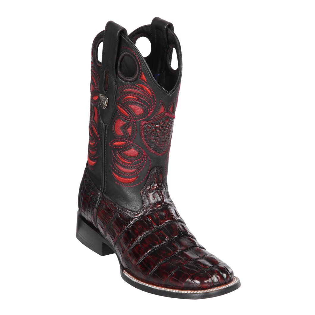 Men's Wild Ranch Toe Boot Genuine Caiman Tail - Black Cherry  - H82