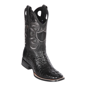 Men's Wild Ranch Toe Boot Genuine Caiman Hornback - Black - H82