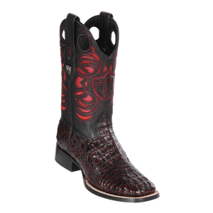Men's Wild Ranch Toe Boot Genuine Caiman Hornback - Black Cherry - H82