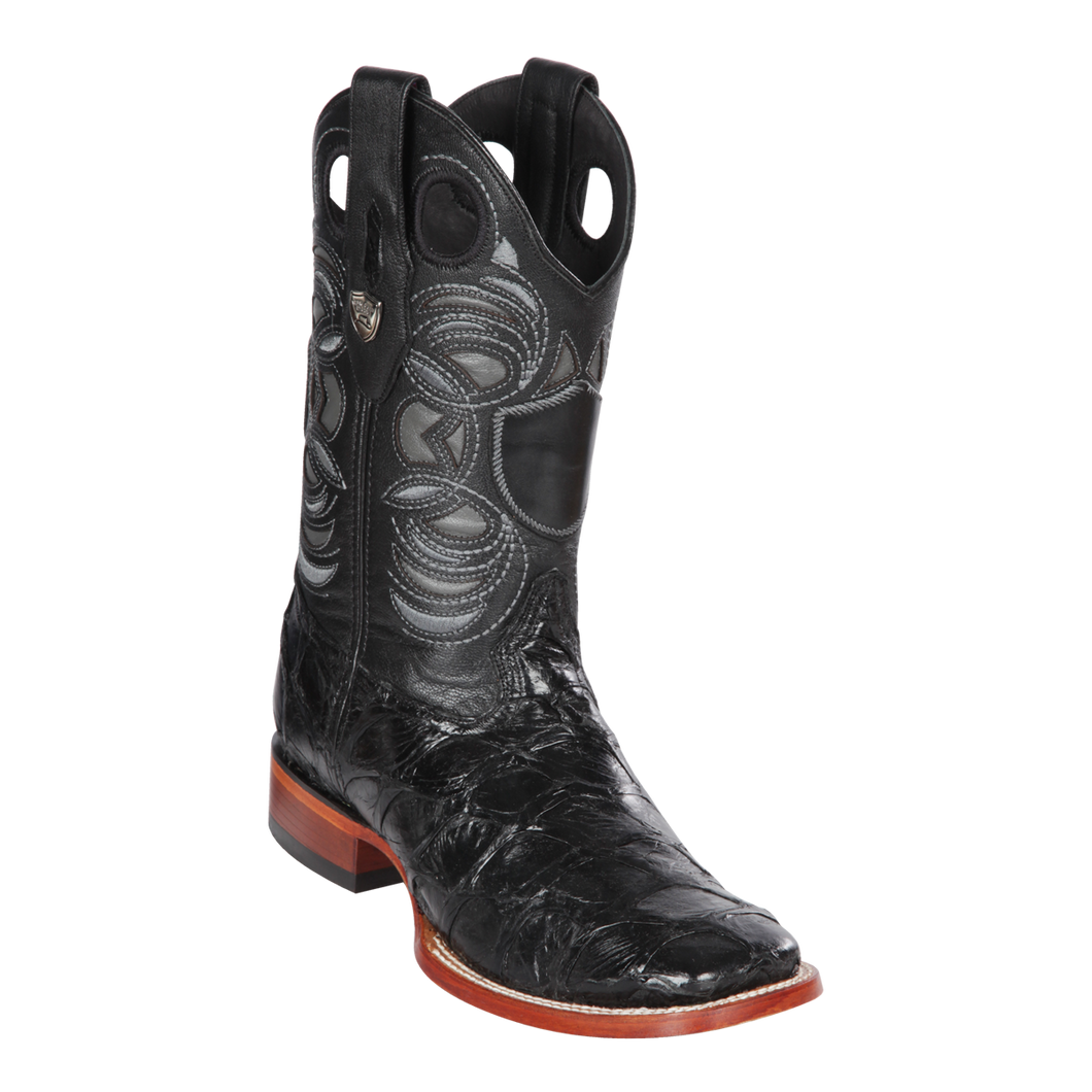 Men's Wild Ranch Toe Boot Genuine Inverted Pirarucu - Black  - H82