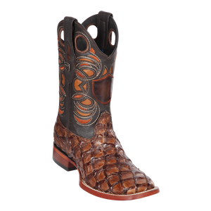 Men's Wild Ranch Toe Boot Genuine Inverted Pirarucu - Brown  - H82