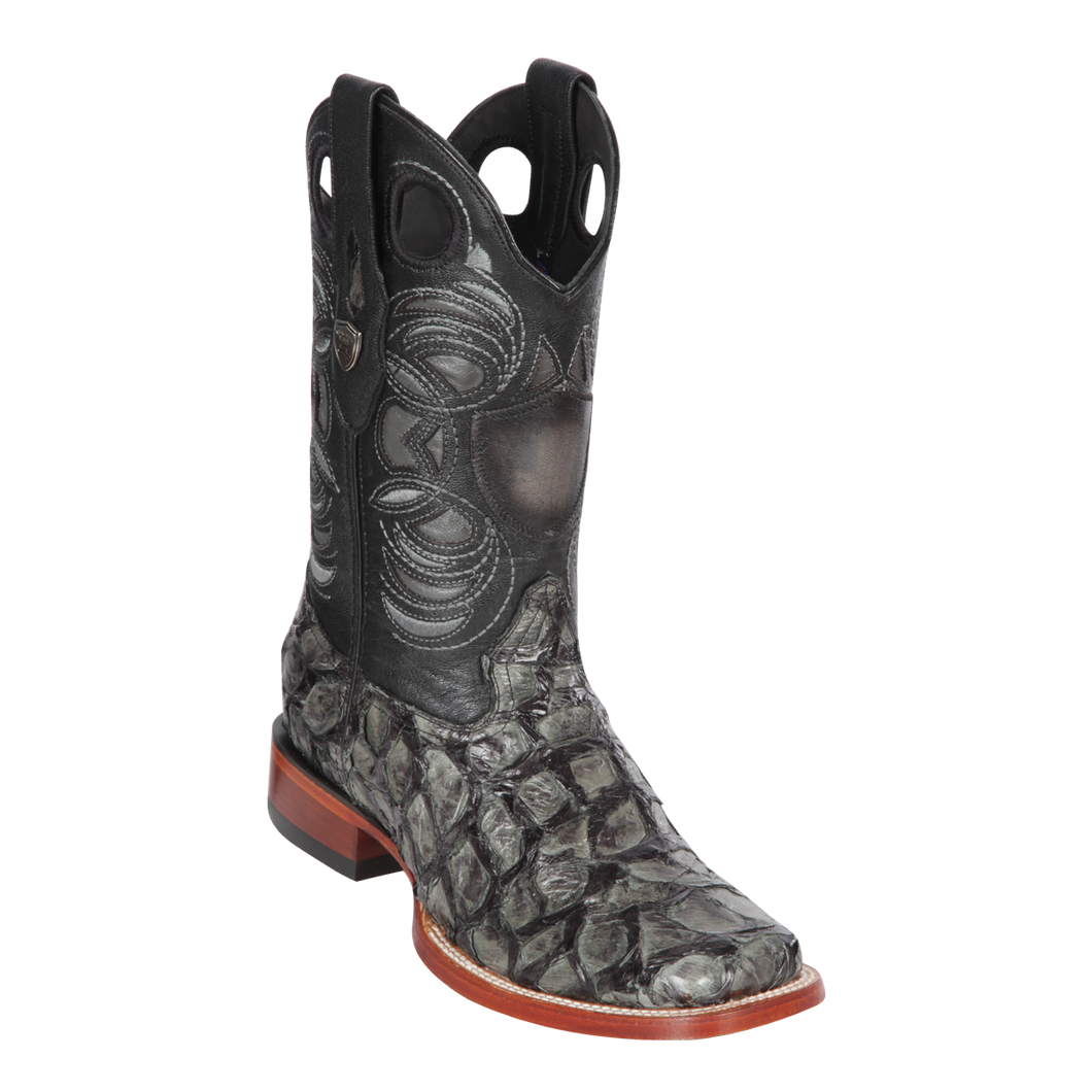 Men's Wild Ranch Toe Boot Genuine Inverted Pirarucu - Gray  - H82