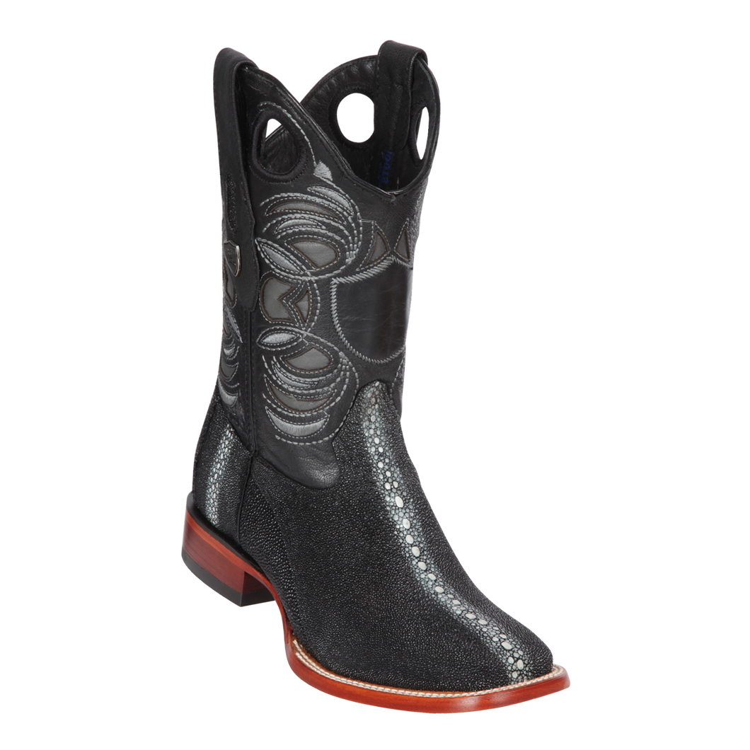 Men's Wild Ranch Toe Boot Genuine Stingray Rowstone - Black - H82